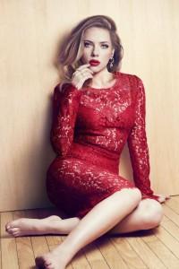 Scarlett Johansson see thru red dress