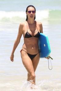 Alessandra Ambrosio hot black bikini