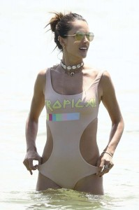 Alessandra Ambrosio sexy beige swimsuit