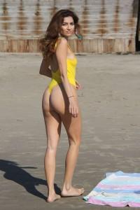 Blanca Blanco in yellow swimsuit