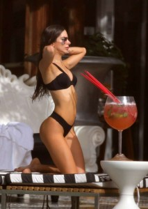 EXCLUSIVE: Fitness model Jen Selter wears a sexy black bikini and drinks a giant Mojito by the pool in South Beach