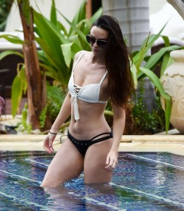 *EXCLUSIVE* *PICTURES TAKEN ON THE 17/12/2017* New mum Jennifer Metcalfe shows off her body in a bikini on holiday in Tenerife