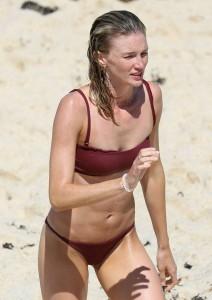Amy Pejkovic red swimsuit