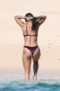 Karrueche Tran sexy purple bikini