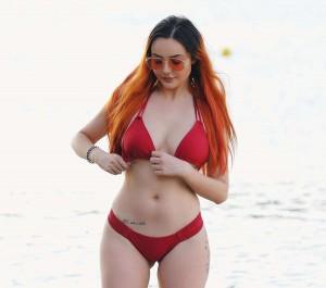 Sarah Goodhart sexy red bikini
