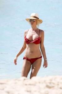 Victoria Silvstedt in red sexy bikini