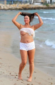 *EXCLUSIVE* Lisa Appleton showed off her assets by going topless in Spain